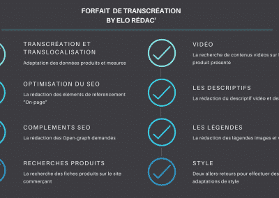 Forfait de transcréation by elo rédac'