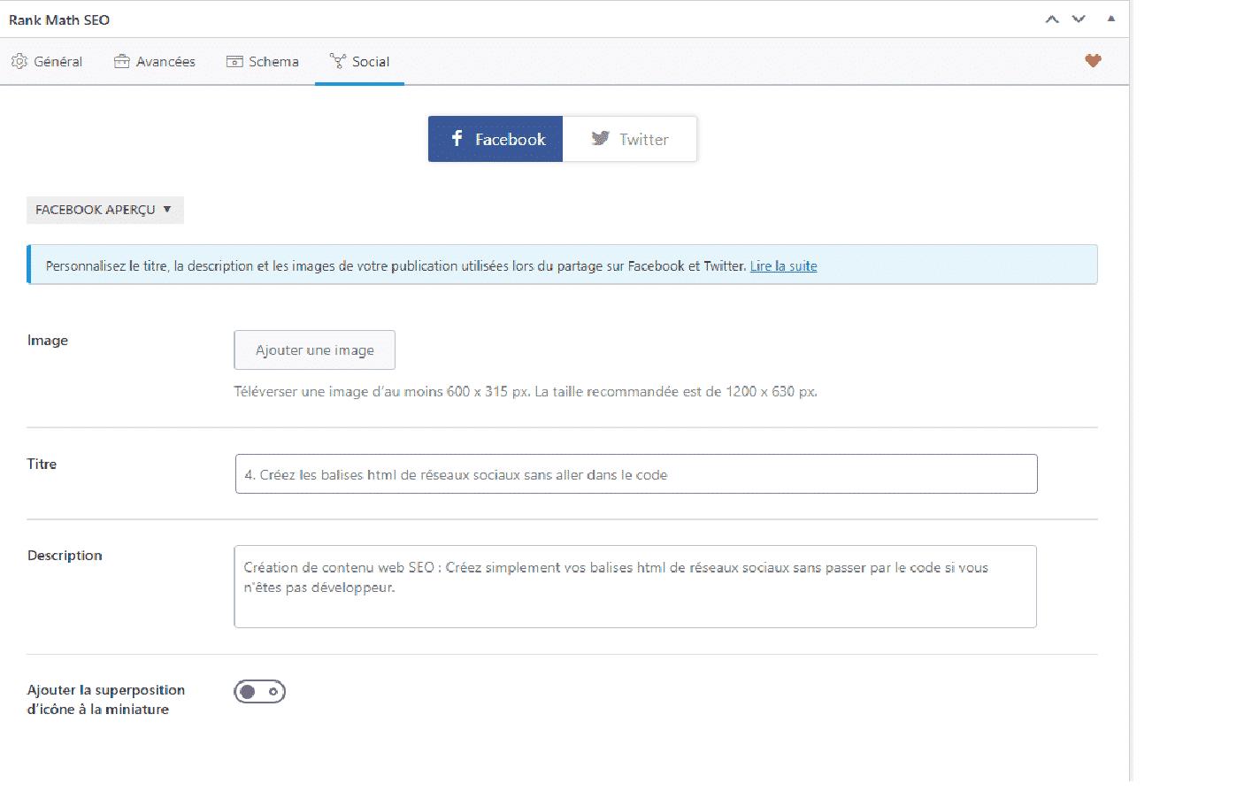comment créer les balises html des réseaux sociaux
